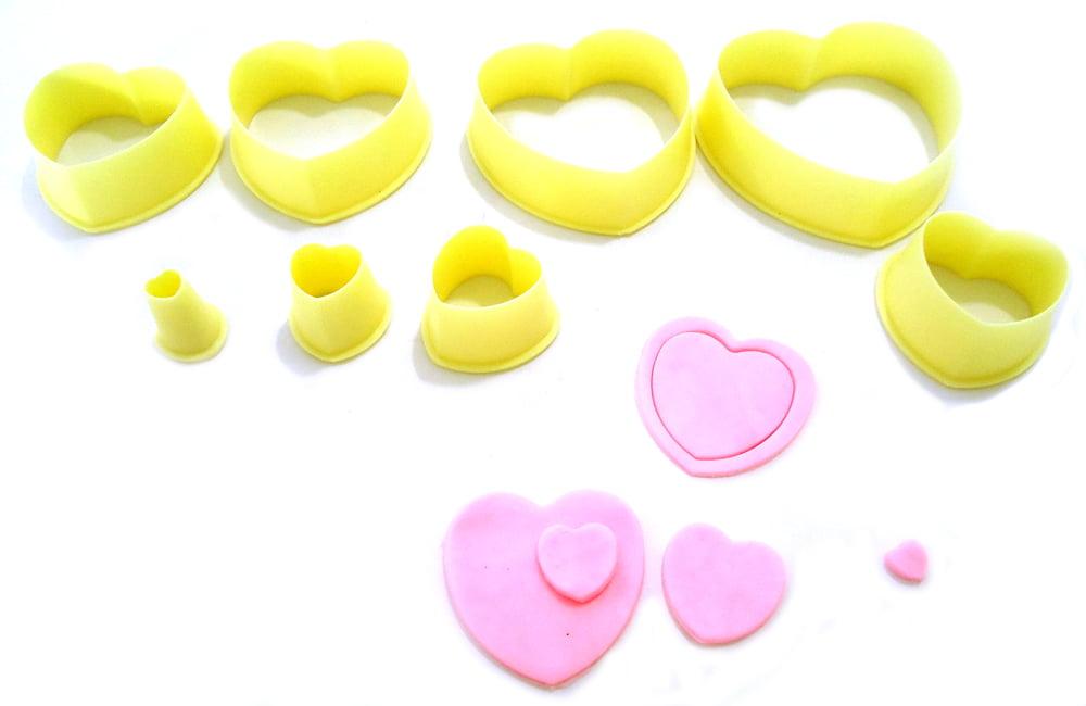 Cortador de Biscuit Pasta Americana Confeitaria Biscoito Coração  Blue Star c/8 peças