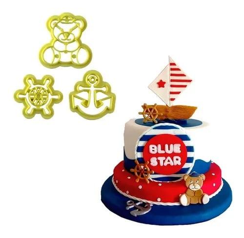 Cortador de Biscuit Pasta Americana Confeitaria Biscoito Ursinho Marinheiro Blue Star