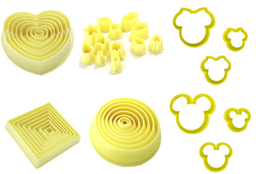 Kit Cortador Flores Coração Quadrado Circulo Mickey Blue Star Para Massa de Biscuit Pasta Americana Biscoito c/42 peças