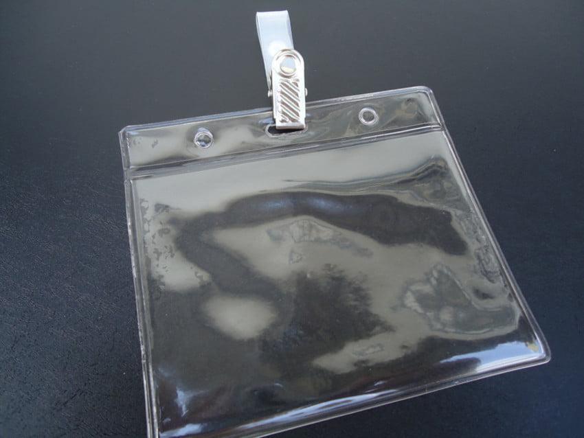Kit Protetor de Crachá e Credencial Pvc 8x11cm Horizontal com Presilha Jacaré Metal C/100