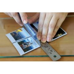 Regua de Metal Aço Inox 30cm para Desenho e Artesanato