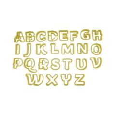 Cortador de Biscuit Pasta Americana Confeitaria Biscoito de Letras Maiúscula 5,00cm Blue Star c/33 peças