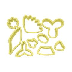 Cortador de Biscuit Pasta Americana Confeitaria Biscoito Flores Orquídea Cod2 Blue star C/9 peças