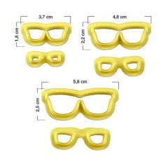 Kit Cortador de Biscuit Óculos Cod1 Marcador Pedra Madeira Blue Star