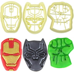 Cortador de Biscuit Pasta Americana Confeitaria Biscoito Heróis Homem de Ferro Pantera Negra Huck Blue Star