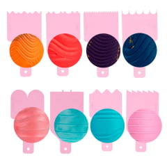 Kit Mini Espatula Decorativa C/8 Pçs 8 Efeitos Blue Star Rosa