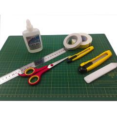 Kit Para Scrapbook Base De Corte Estilete Tesoura Fita Cola Dobradeira