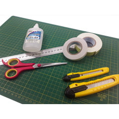 Kit Para Scrapbook Base De Corte Estilete Tesoura Fita Cola