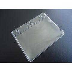 Kit Protetor de Crachá e Credencial Pvc 6x9cm Horizontal com Cordão Silicone Ponteira C/25