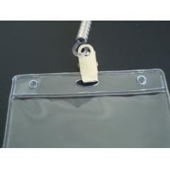 Kit Protetor de Crachá e Credencial Pvc 6x9cm Horizontal com Cordão Silicone Jacaré C/100