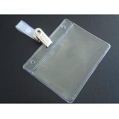 Kit Protetor de Crachá e Credencial Pvc 6x9cm Horizontal Presilha de Metal Jacaré Metal C/25