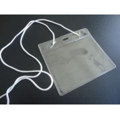 Kit Protetor de Crachá e Credencial Pvc 8x11cm Horizontal com Cordão Nylon C/100
